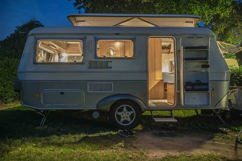 Travel Trailer Parked at Night